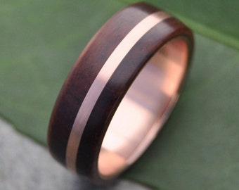 Size 9.25, 7mm READY TO SHIP Rose Gold Solsticio Oro Nacascolo Wood Ring - 14k rose gold, pink gold wood wedding band, wooden rose gold ring