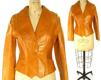 70s Bear Geste Western Leather Jacket / Vintage 1970s Hippie Boho Rocker Bohemian Cowboy / Brown Butter Soft Genuine Cowhide Women's XS