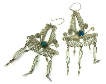 70s Tribal Dangle Earrings Vintage 1970 Handmade Indian Wire Raw Quartz Crystal Hippie Gypsy Pierced Earrings Silver Statement Chandelier
