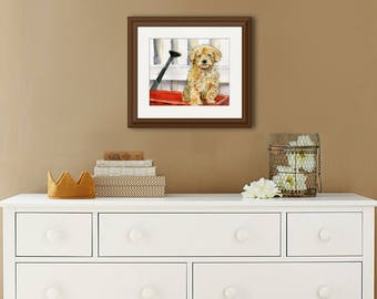 Original poodle watercolor | animal art | dog painting | poodle puppy | wall decor | watercolor animals | red wagon | dog lovers