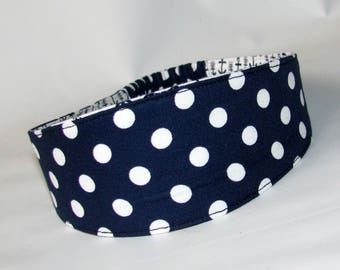 Navy Polka Dots Fabric Headband Adult woman's headband, Woman's Headband Women Hairband, Reversible headband Hair Fashion Accessories