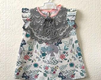 Bunnies & lace cotton dress toddler girls Supayana SS2018 easter