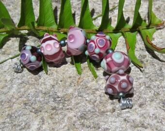 Mini Pink Orphan strand- handmade lampwork beads- SRA - Art Glass beads~ Lisa New Design