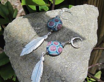 Silver feather earrings-Lampwork earrings, Turquoise glass earrings-  Lisa New Design- Ethnic Earrings Boho jewelry