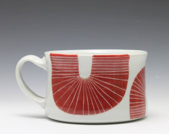 Large Red and White Porcelain Soup Chili Oatmeal Mug