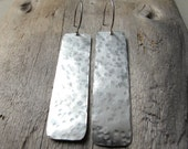 Geometric Silver Earrings, Rectangle Hammered Dangles, Sterling Silver Ear Wires