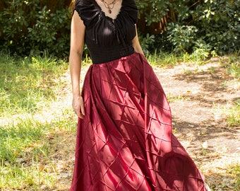 Raspberry Red Pintuck Taffeta Renaissance Skirt - Steampunk Costume - Ren Faire Garb - Womens Halloween Costume - Medieval Clothing - SCA