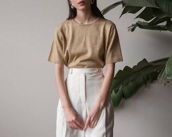 gold knit short sleeve sweater / metallic knit tee / metallic t shirt top / s / m / 3216t / B21