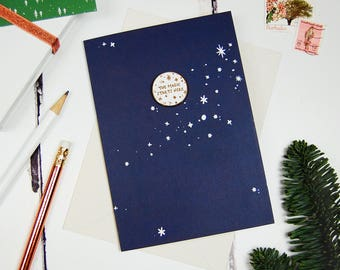 The Magic Starts Here Pin Keepsake Card - Christmas Card - Lapel Pin Badge - Festive Gold Enamel Pin - Christmas Magic Gift - Stocking Gift