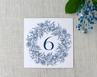 Peony Wreath Table Numbers, Wreath Peony Table Numbers, Wedding Wreath Table Numbers, Printed Table Numbers, Wedding Reception Table Cards