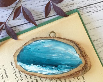 Mini Wall Art Hanging Hook Natural Wood Slice Hand Painted Acrylic Paint Nature Water Ocean Storm Seas Swell Birds Seagulls Blue