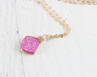 Pink Rose Gold Necklace, Hot Pink Druzy Necklace, Rose Gold Druzy Necklace, Pendant Necklace, Metallic Pink Necklace, Rose Gold Necklace