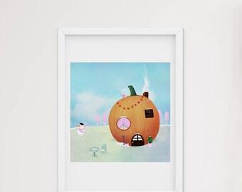 Winter pumpkin house - art print
