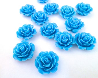 10 sky blue 20mm rose resin cabochons, cute flower cabs