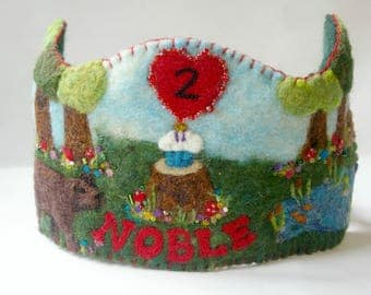 Woodland Birthday Crown:  Happy Birthday Bear Waldorf Inspired Wool Felt Crown (Custom Made Crown with Name for Toddler Birthday Party)