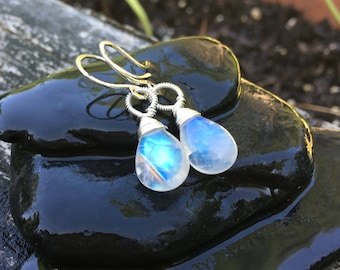 Rainbow Moonstone Sterling Silver Earrings, Long Dangle, Blue Fire, Genuine Gemstone, Handmade Jewelry, Smooth Polished, Kerri Hale Vermont