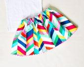 Geo Skirt Girl - Geometric Skirt - Girl Twill Skirt - SALE Skirt Girls Size 18-24m - Ready to Ship - Toddler Multi Skirt Infant - Bright New