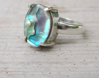 Sterling Silver Abalone Ring Seashell Ring US size 8 Peacock Colors
