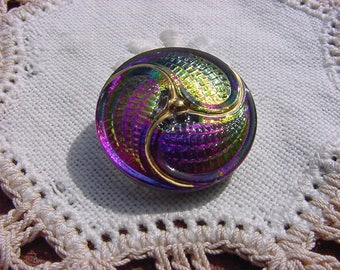 Rainbow Golden Paisley Pinwheel Czech Glass Button