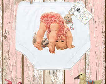 Gift for Her, Potty Pants, Cute Baby, Girl Pants, Girl Bottoms, Training Underwear, Undies, Trainer Pants, Vintage Graphic, 2T, 3T