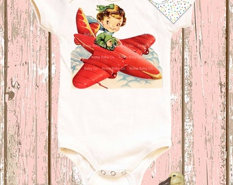 Gift for Her, Girl Pilot Shirt, Mighty Girl, Organic Bodysuit, Vintage Plane, One Piece, Red Plane, Infant Top, baby layette, Vintage Plane
