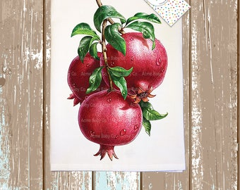 Retro Kitchen Towel, Pomegranates Tea Towel, Tea Towel, Retro Tea Towel, Hand Towel, Pomegranate Towel, Kitchen Towel, Retro Towel