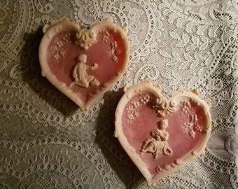SALE Vintage 1950's Pink Heart Shaped Wall Hangings, Girl and Boy, Hand Carved Incolay Stone