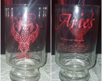 SALE Vintage Glass Vase Goblet Zodiac Sign Aries, 1970's Astrology