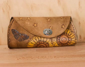 Small Clutch Purse - Leather Evening Clutch, Wristlet, Crossbody or Waist Purse - Celestial pattern with sunflowers, butterflies and stars