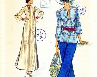 Vogue 8858 Caftan Dress Top 1970s VERY EASY VOGUE Size 14 Bust 36 Uncut Vintage Pattern