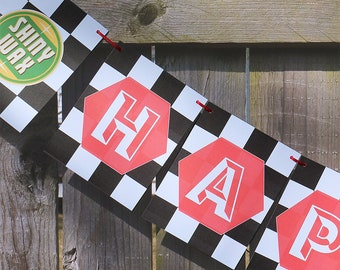 Checkered Flag Party Garland, Cars Theme, Childs Birthday, Lightning, McQueen, NASCAR party, race car theme, cars nursery theme