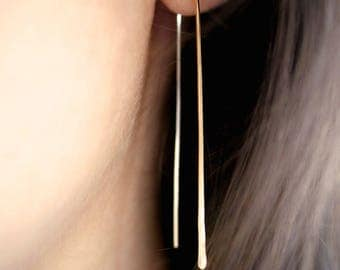 SOLID Gold Long Arch earrings, Hammered Gold earrings, Long linear earrings, gold bar earrings, arch earrings, gold arch earring, u earrings
