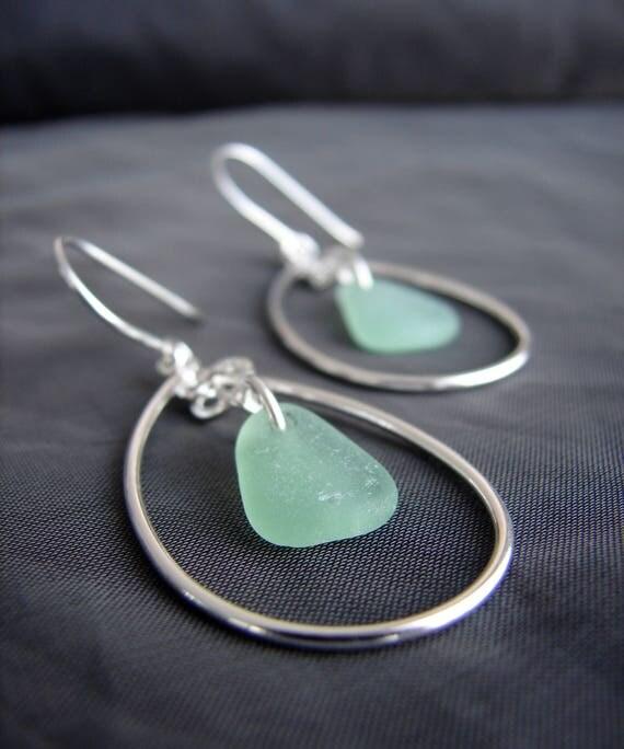Sea Keeper sea glass earrings in seafoam green