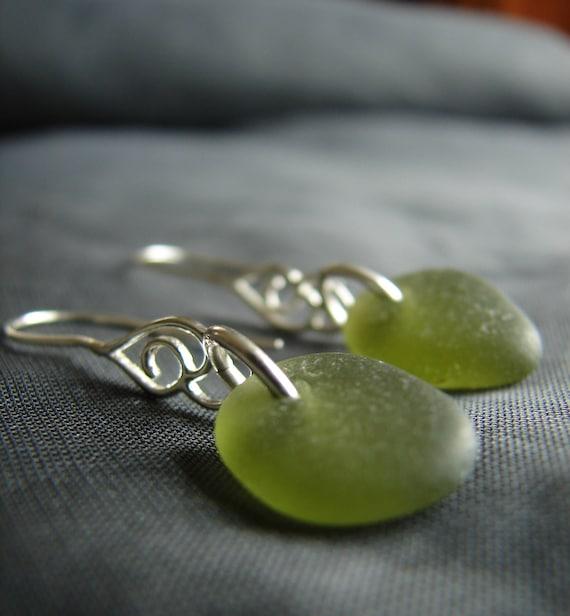 Whitecap sea glass earrings in olive green