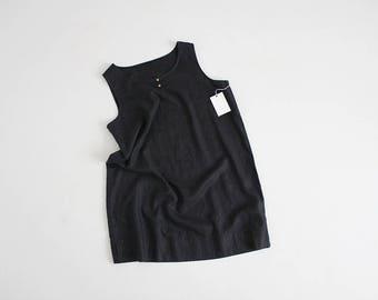 black linen tank dress   black linen dress   minimalist linen dress