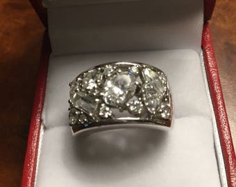 Sterling Silver Diamonique Ring. Sz6