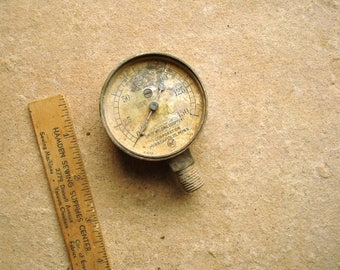 Vintage Pressure Gauge Welding Gas Tank - Steampunk Assemblage, Altered Art or Sculpture - Industrial Salvage