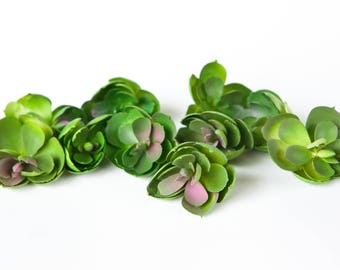 Set of 10 Small Artificial Rosette Echeveria Succulents in Green, Pink - Fake succulents - artificial succulents - ITEM 01160