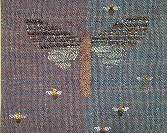 "Hand Woven fine art tapestry, ""Big Moth"".  15"" square. By Laura Foster Nicholson"