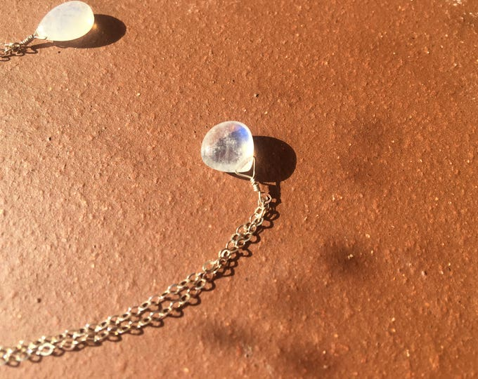 Flashy Heart Shaped Rainbow Moonstone Littles Necklace Sterling Silver Blue White Delicate Dainty Bridesmaid Gift