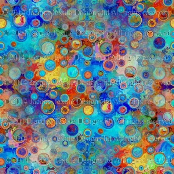 Polka Dots Blue Handmade Artist Cotton Art Quilting Fabric Fiber Art Mixed Media Fabric