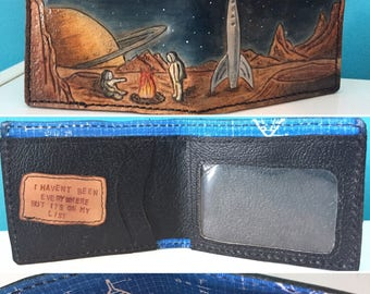 Leather Wallet- Space Fire Stories