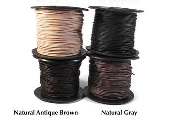 Ultra Soft Leather, Black, Natural Gray Brown or Tan Round Leather, 1mm, 15 Feet, Cord for Wrap Bracelets and Jewelry Making