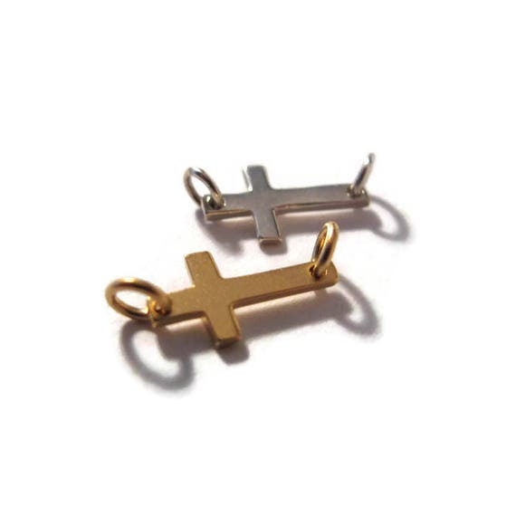 Brushed Gold or Sterling Silver Sideways Cross Charm, Small Cross Link, 24k Gold Plated Over Sterling Silver, Jewelry Supplies
