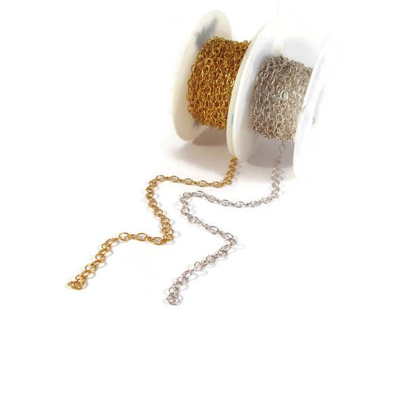Smooth Cable Chain, 5mm x 4mm Links, 14k Gold Filled or .925 Sterling Silver, By The Foot, Medium Chain, Jewelry Supplies (57af, 57as)