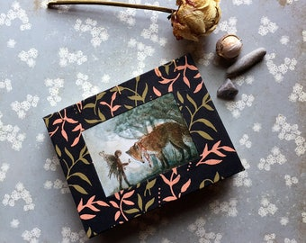 Fox & Fairy Sketchbook, Notebook, Mini Journal - Coptic Bound - green leaf print - The Exchange