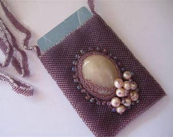 Beaded Medicine Bag Necklace, Amulet Bag, Treasure Bag, Wish Bag in Purples and Pearl