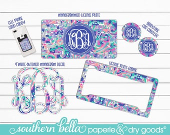 Monogrammed License Plate, License Plate Frame, Car Coasters, 9 Inch Car Decal and Cell Phone Card Caddy lilly inspired car accessories