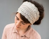 Soft White Lace Stretch Headband | Garlands of Grace convertible Headwrap Headcovering hair wrap