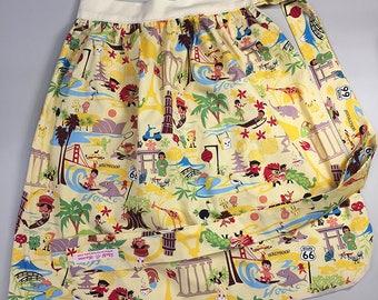 Half Apron - Vintage Pin Up Skirt Style - World Traveler
